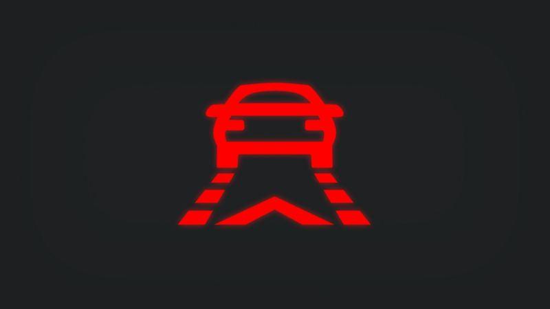 Kontrollleuchte mit vorausfahrendem Fahrzeug auf Fahrspur leuchtet rot