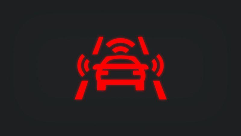 Kontrollleuchte mit Sensoren rund um Fahrzeug leuchtet rot