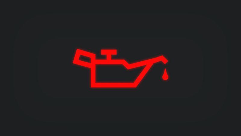 Kontrollleuchte mit Ölkanne leuchtet rot
