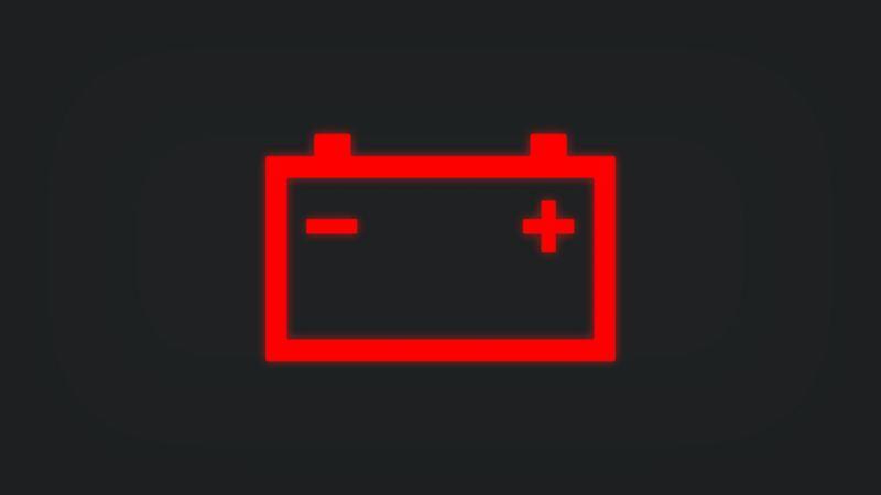 Kontrollleuchte mit Batterie leuchtet rot