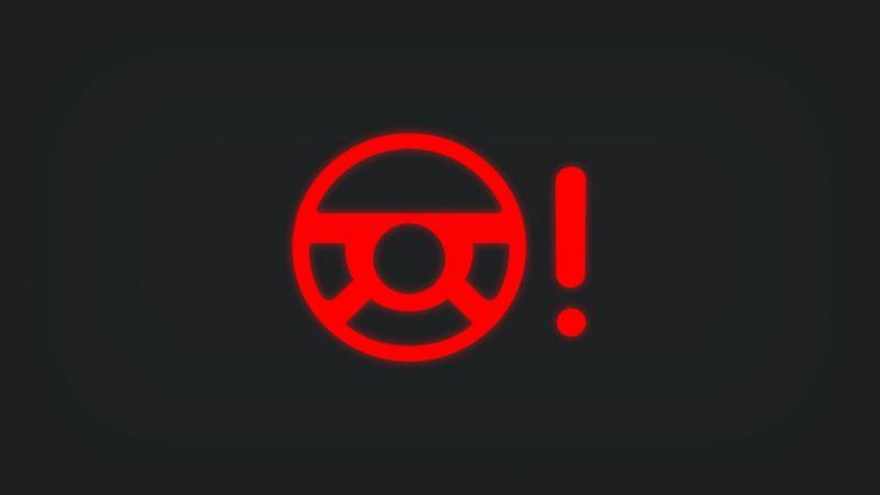 Kontrollleuchte mit Lenkrad und Ausrufezeichen leuchtet rot