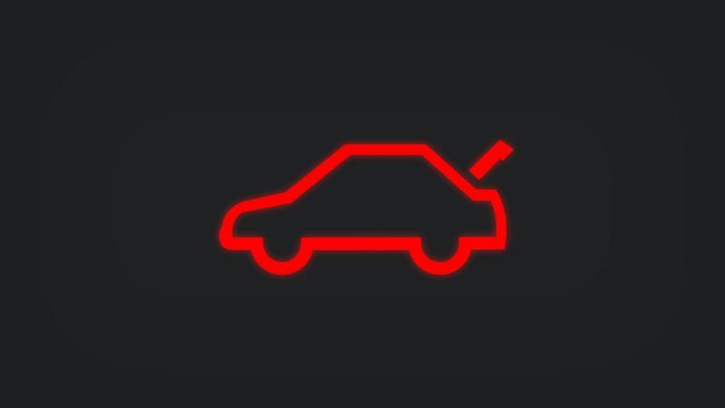 Kontrollleuchte mit offenem Kofferraum leuchtet rot