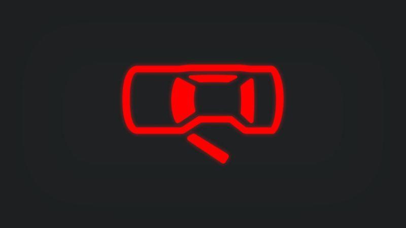 Kontrollleuchte mit einer offenen Fahrzeugtür leuchtet rot