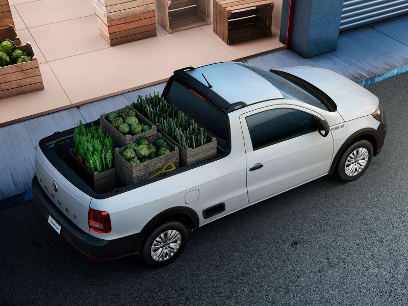 Camioneta Pick Up Saveiro estacionada con plantas en espacio trasero