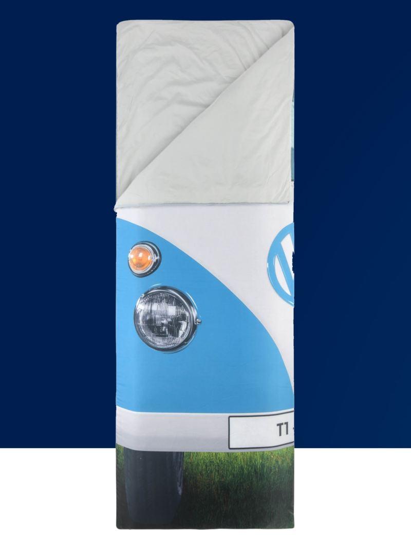 Ein Schlafsack im Bulli Design.