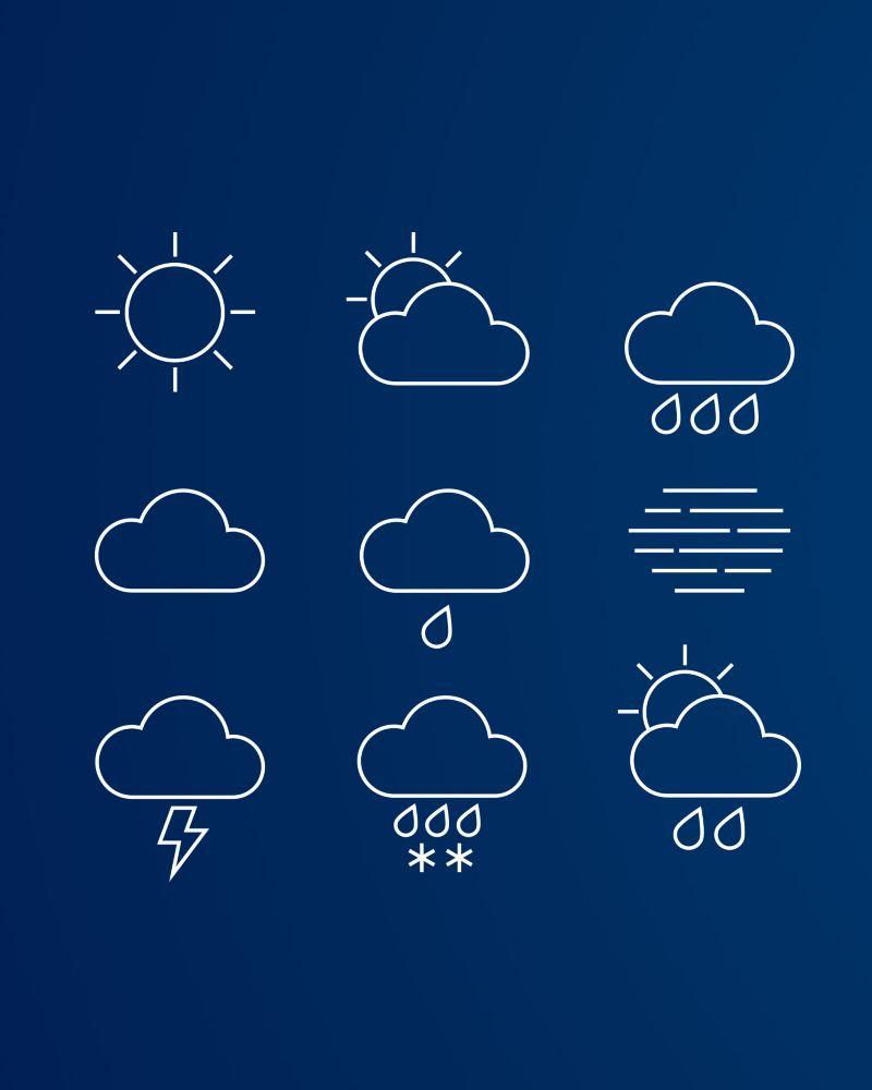 Vädersymboler på en blå bakgrund