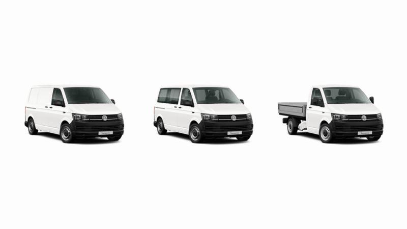 Transporter Bestelwagen Combi Pick-up wit 3/4 witte achtergrond