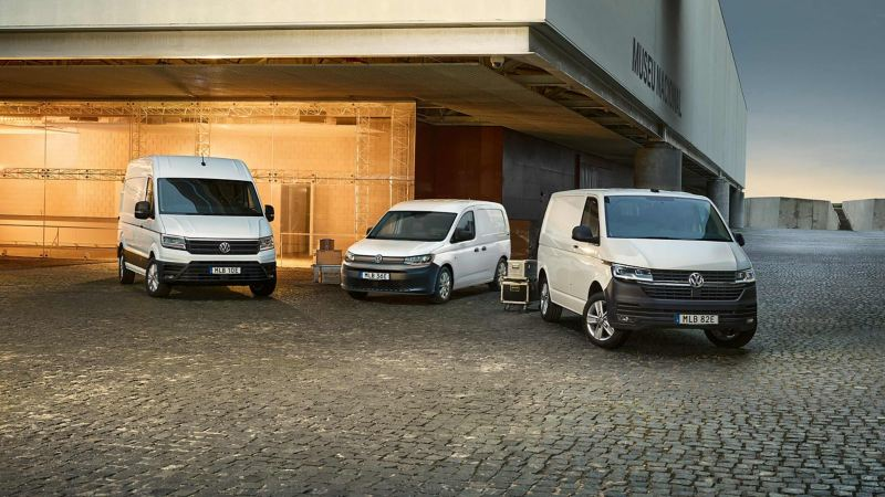 VW Caddy, Transporter och Crafter vita skåpbilar