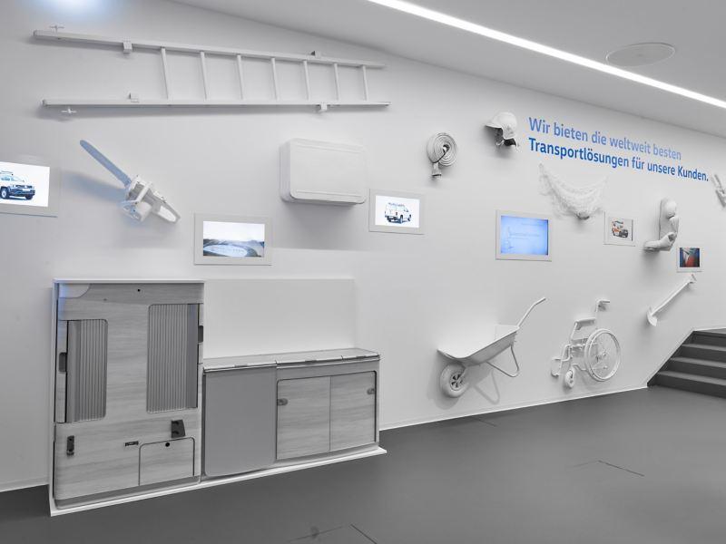 Aufnahme der Räume des kleinen Museums im Volkswagen Nutzfahrzeuge Kundencenter Hannover.