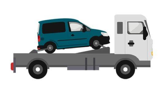 Anschaubild für ein Fahrzeug auf einem Sattelschlepper.