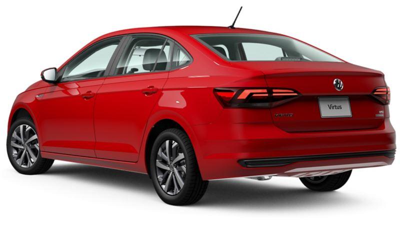 Vista trasera de Virtus de Volkswagen en color rojo tornado
