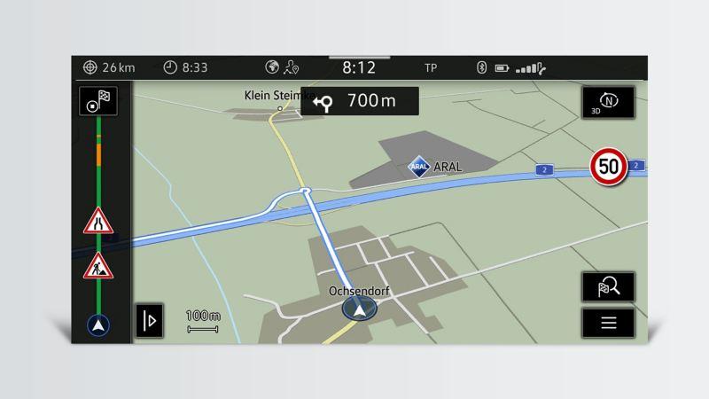 Les affichages d'un système de navigation.