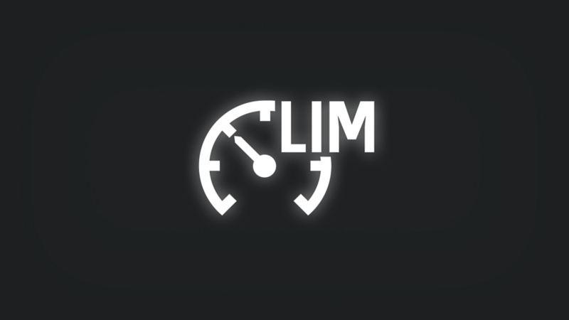Kontrollleuchte mit Tachometer und Schriftzug LIM leuchtet weiss