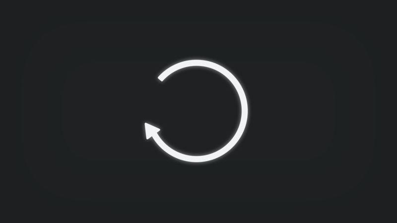 Kontrollleuchte mit Kreis mit Pfeil leuchtet weiss