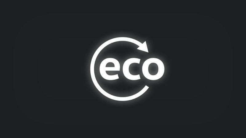 Kontrollleuchte mit Schriftzug eco in Kreis mit Pfeil leuchtet weiss