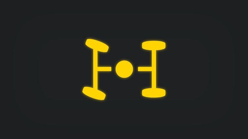 Kontrollleuchte mit horizontaler Achsenansicht und mittigem Punkt leuchtet gelb