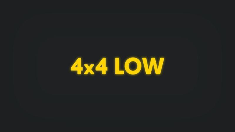 Kontrollleuchte mit Schriftzug 4x4 LOW leuchtet gelb