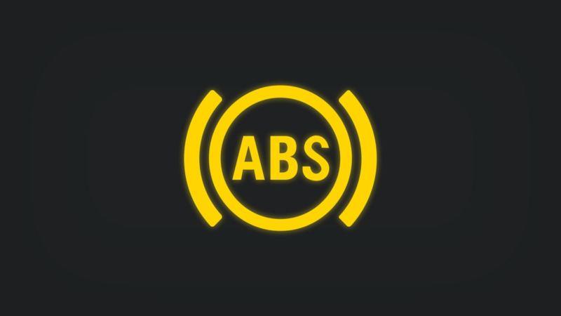 Kontrollleuchte mit Schriftzug ABS leuchtet gelb