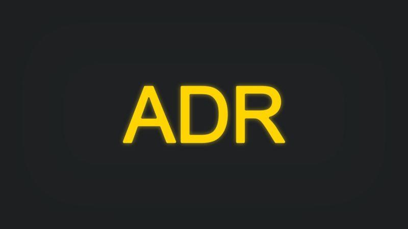 Kontrollleuchte mit Schriftzug ADR leuchtet gelb
