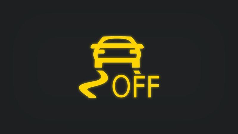 Kontrollleuchte mit Fahrzeug, Schlangenlinien und Schriftzug OFF leuchtet gelb
