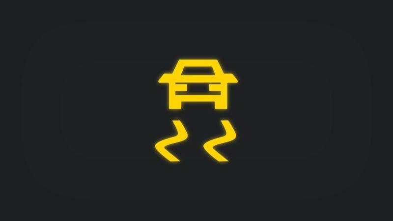 Kontrollleuchte mit Fahrzeug und Schlangenlinien leuchtet gelb
