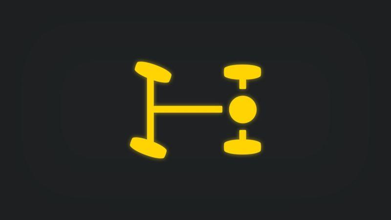 Kontrollleuchte mit horizontaler Achsenansicht und rechtem Punkt leuchtet gelb