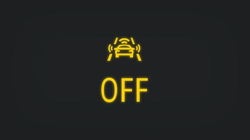 Kontrollleuchte mit Sensoren rund um Fahrzeug und Schriftzug OFF leuchtet gelb
