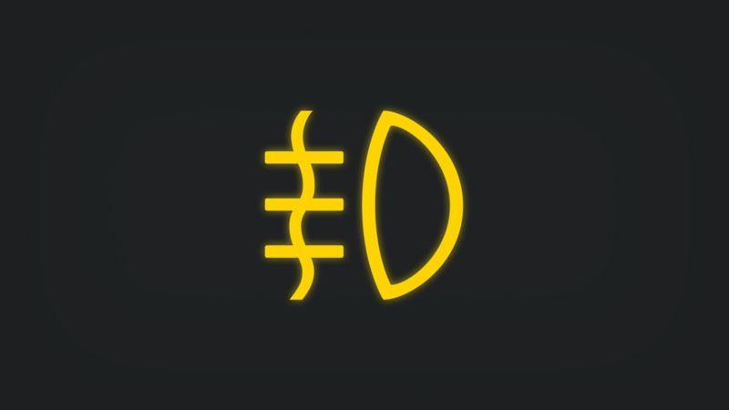 Kontrollleuchte mit Nebelscheinwerfer leuchtet gelb