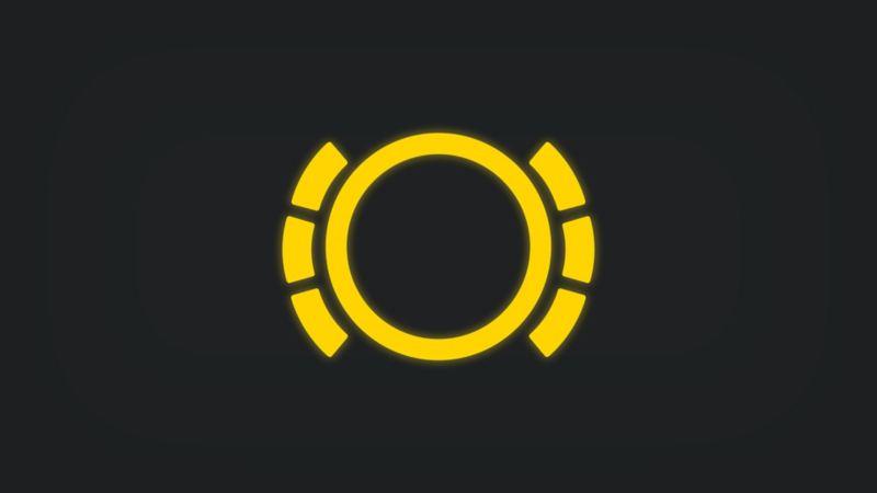 Kontrollleuchte mit von sechs Segmenten umgebenem Kreis leuchtet gelb