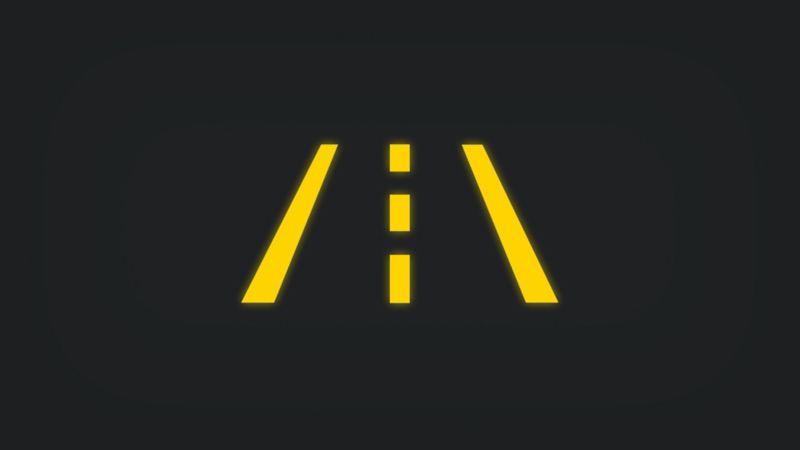 Kontrollleuchte mit zweispuriger Straße leuchtet gelb