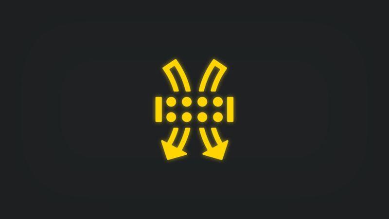 Kontrollleuchte mit Pfeilen und schematischem Luftfilter leuchtet gelb