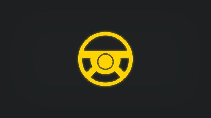 Kontrollleuchte mit Lenkrad leuchtet gelb