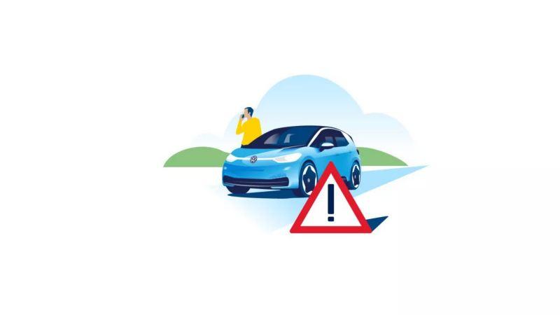 Un triangle de signalisation est placé devant une Volkswagen ID.3. Derrière lui se tient un homme au téléphone.