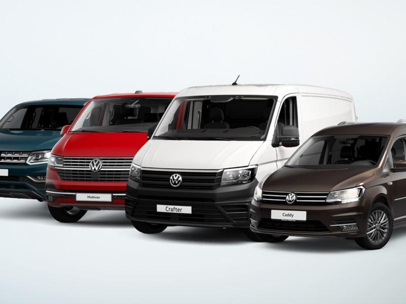 Ein Amarok, ein Multivan 6.1, ein Crafter und ein Caddy stehen nebeneinander.