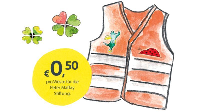 Kaufe eine Tabaluga-Warnweste und wir spenden 50 Cent an die Peter Maffay Stiftung