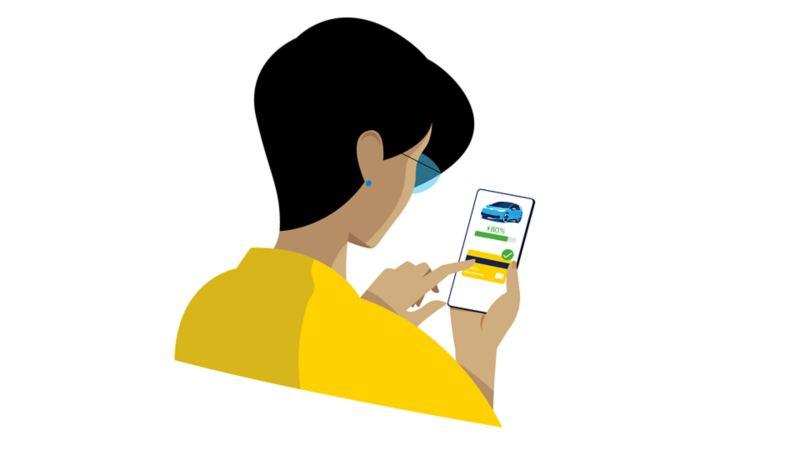 Smartphone avec l'icône de l'application WeConnect et confirmation de paiement