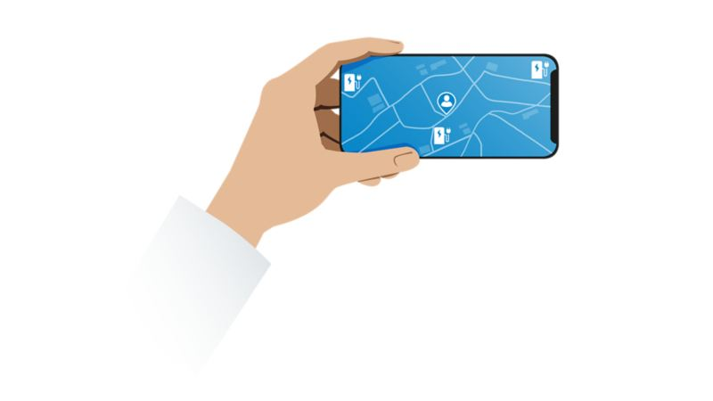 Illustration of a smartphone with a position needle that points towards a charging station on a map