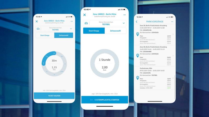 Screenshot der We Park App