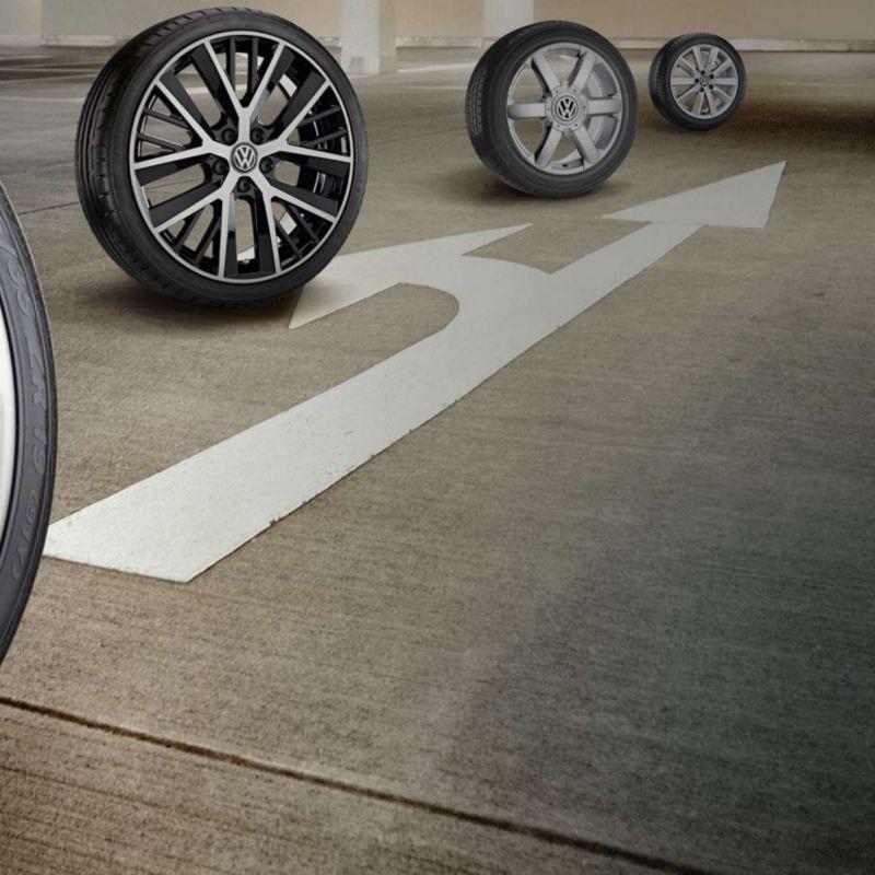 Array of Volkswagen branded wheels