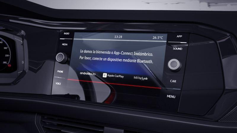 Pantalla de infotenimiento con wireless app connect VW para controlar las apps de tu smartphone
