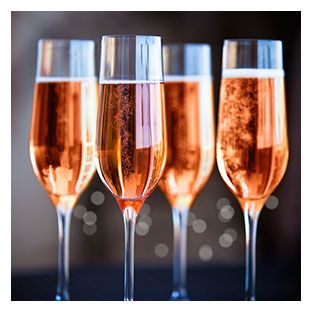 Rose Champagne and Sparkling in a glass