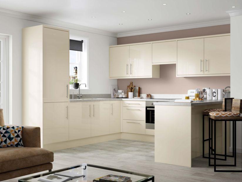 Ready To Fit Matt White Kitchen, Gloss Cream Kitchen Cupboards