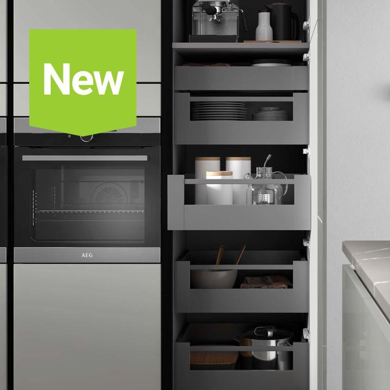 Grey cabinet interiors