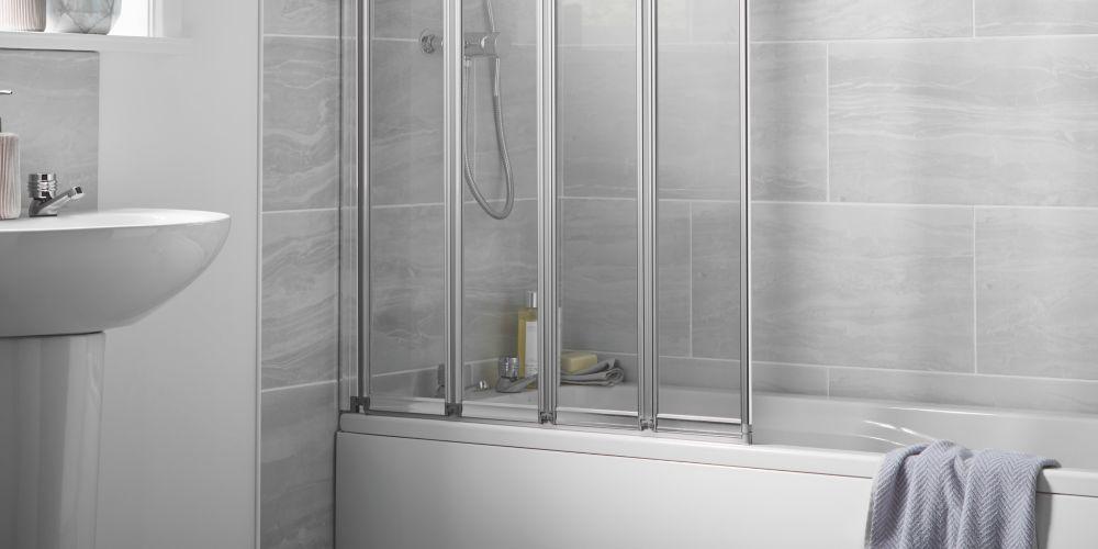 Wickes Silver Effect Frame Four Fold Bath/shower Screen - 1400 X 840 Mm