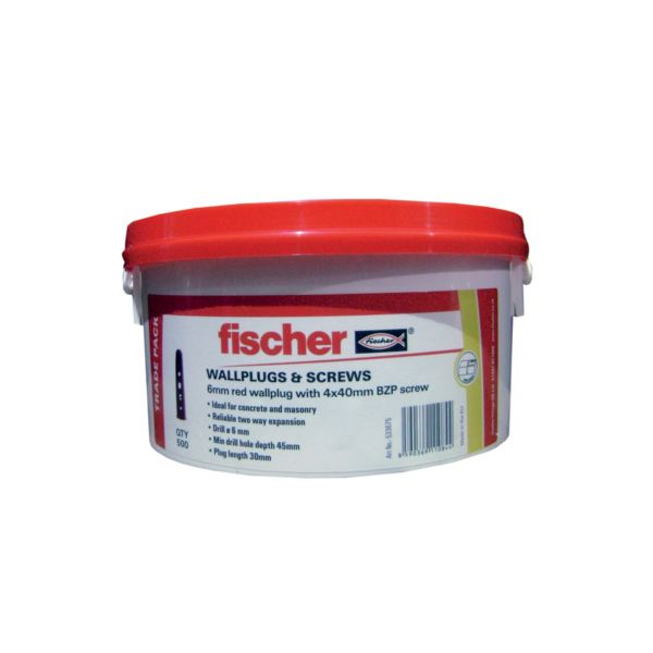Fischer Wall Plugs Red 6mm Tub