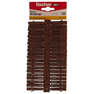 Fischer Brown Plastic Wallplugs - 7mm Pack of 100