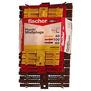 Fischer Assorted Plastic Wallplugs - 5, 6 & 7mm Pack Of 200