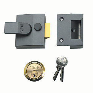 Yale P-85-DMG-PB-40 85 Deadlocking Nightlatch - Grey & Brass 40mm