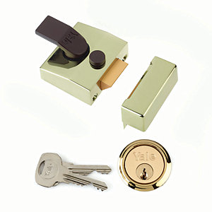 Yale P-85-BLX-PB-40 85 Deadlocking Nightlatch - Brass 40mm