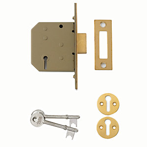 Yale P-M322-PB-65 3 Lever Deadlock - Brass 64mm